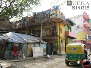 Bright colours and street art liven up Hauz Khas Village's last remaining residential area