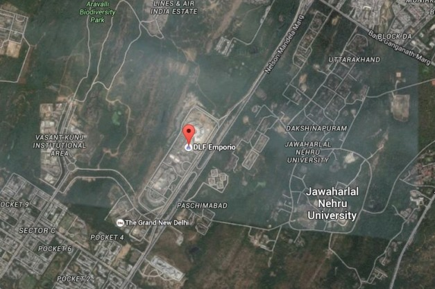 Figure 1, location of DLF Emporio and its surroundings, Google Earth