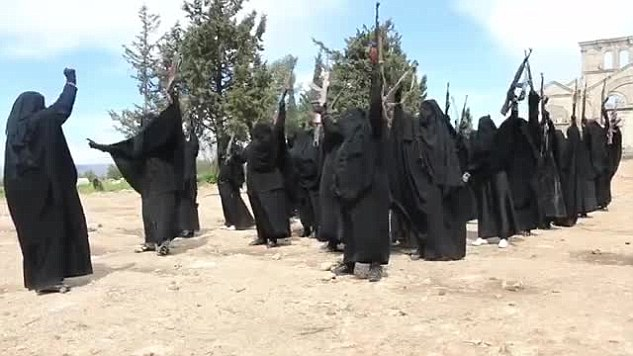 Fig. 7: The radical group of women shouting out their devotion to Jihad.