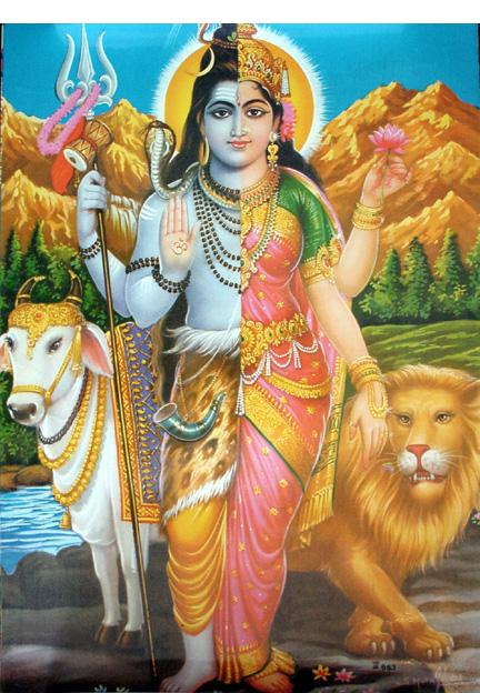 God Shiva in the form of Ardhanareshwara, portrayed as half male and half female.
